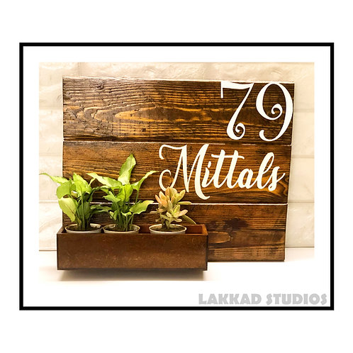 Customizable Wooden Walnut Colour Name Plate with planter