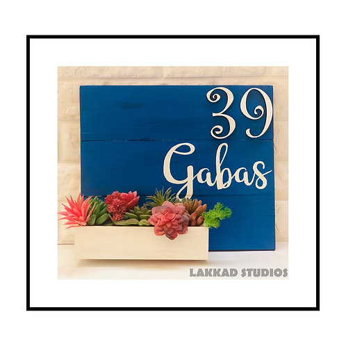 Customizable Rustic Blue Colour Name Plate with Planter Box