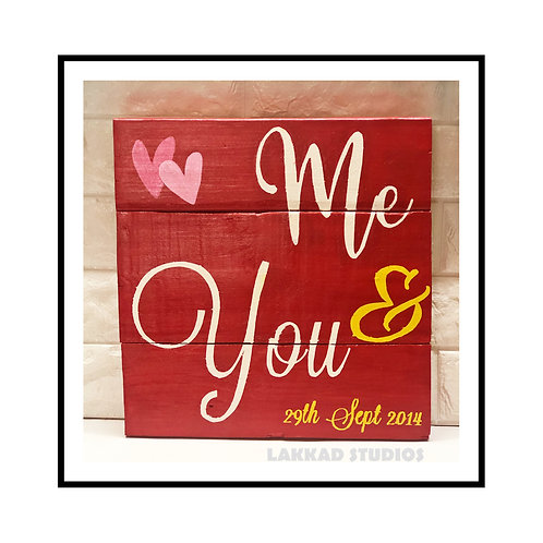 "Lakkad Studios  Wooden Wall Art Love Quotes "" Me and You"""