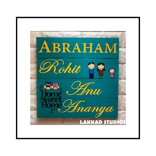 Customizable Wooden Name Plate Family of Four
