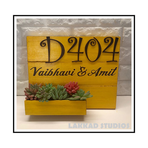 Customizable Wooden Rustic Yellow Number Plate with planter