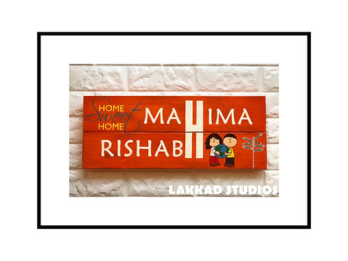 Customizable Wooden Name Plate Travel Theme