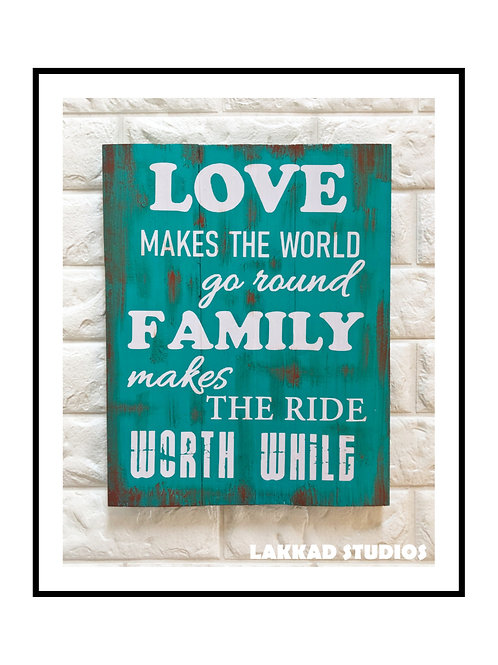 """Wooden Wall Art Rustic quotation Board """"Love & Family"""""""