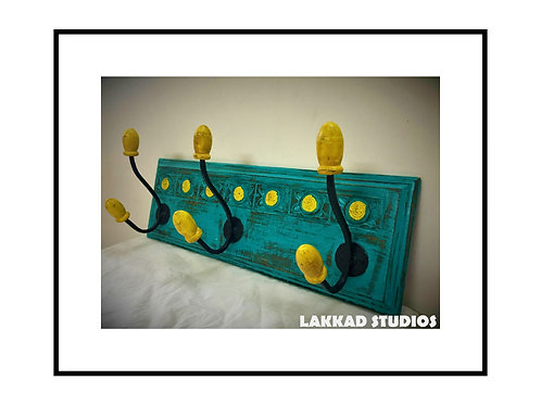 Vintage rustic Coat Hanging rack-Yellow and Green blue