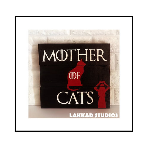 "Rustic Wooden Wall Art Cat Sayings""Mother of Cats"""