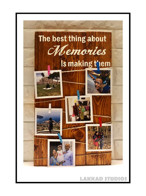Wooden Wall Hanging for Photos with clips