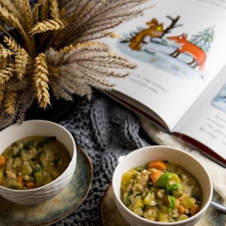 Vištienos troškinys su perlinėmis kruopomis ir daržovėmis