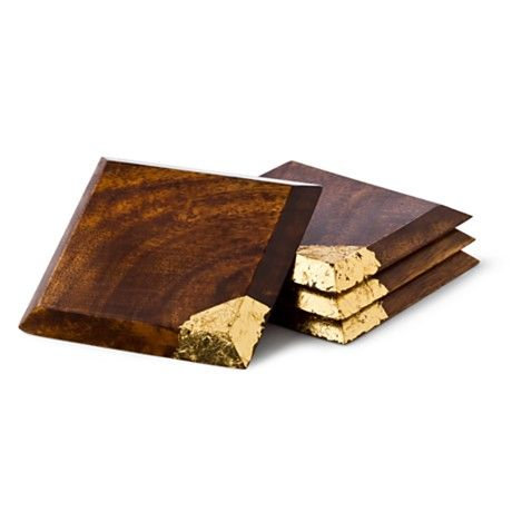 ACACIA WOOD COASTERS SET OF 4 PLATES WITH GOLD BITE