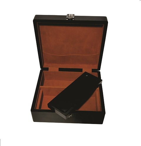 PINE WOOD STASH BOX BLACK ANTIQUE WITH VELVET CLOTH INSIDE
