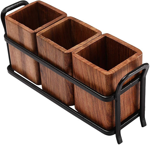 Urban King Antique Wooden & Iron Handcrafted Caddy Cutlery Holder