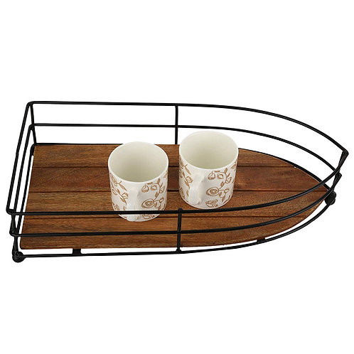 URBAN KING SHIP SHAPE WOODEN TRAY ANTIQUE BROWN