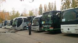 Большое количество автобусов