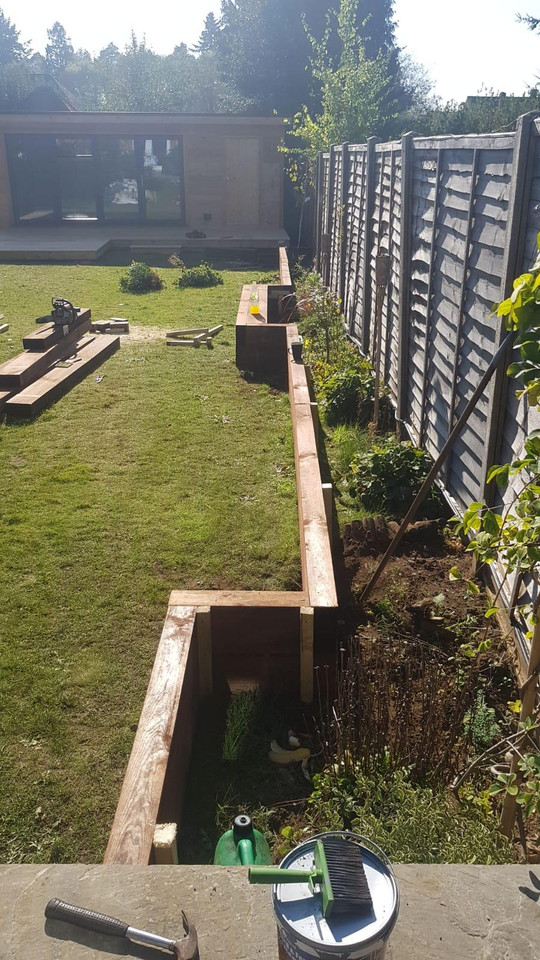 Raised sleeper beds being installed