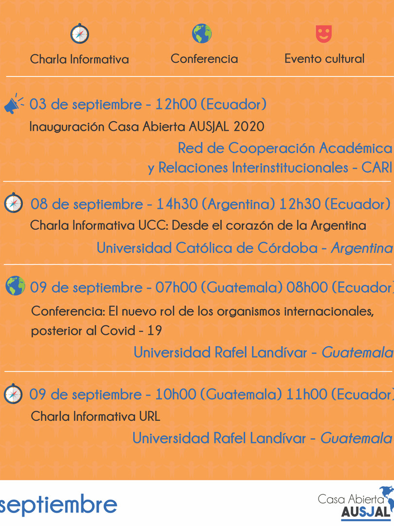 Casa abierta AUSJAL agenda septiembre (0