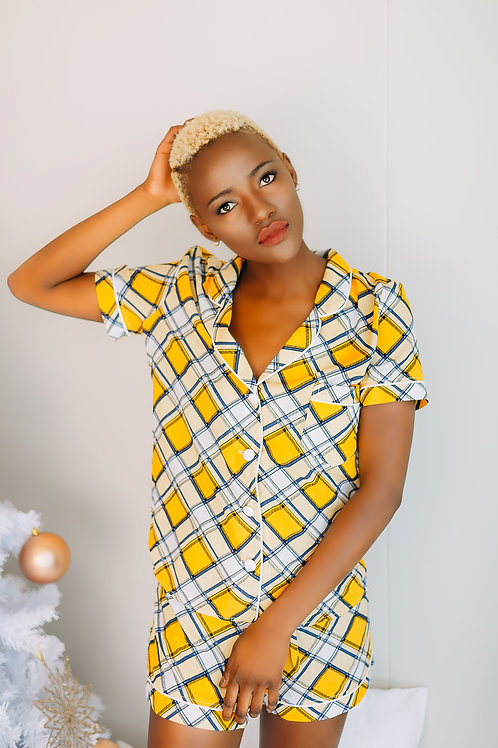 LADIES YELLOW CHECK - SHORT PAJAMA SET - SUMMER SAVINGS