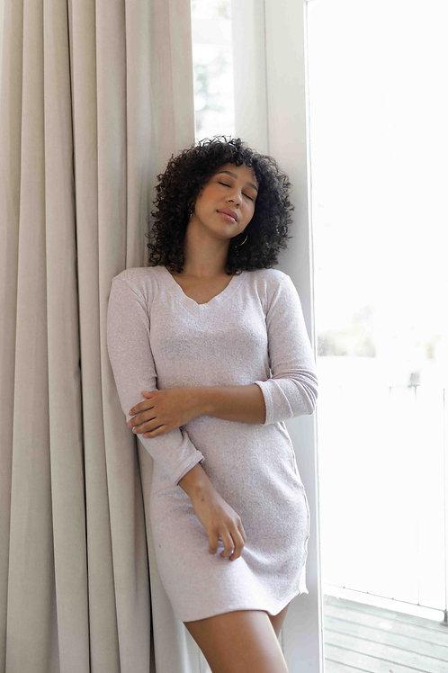 LADIES PASTEL LILAC KNIT - LONG SLEEVE NIGHT DRESS
