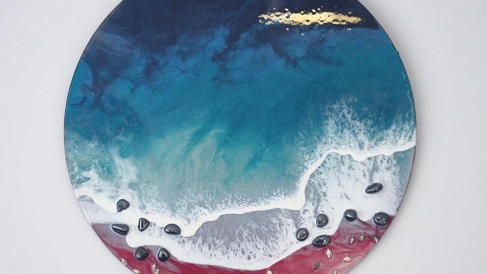 Pink Sands Seacape w/ Hematite Crystal