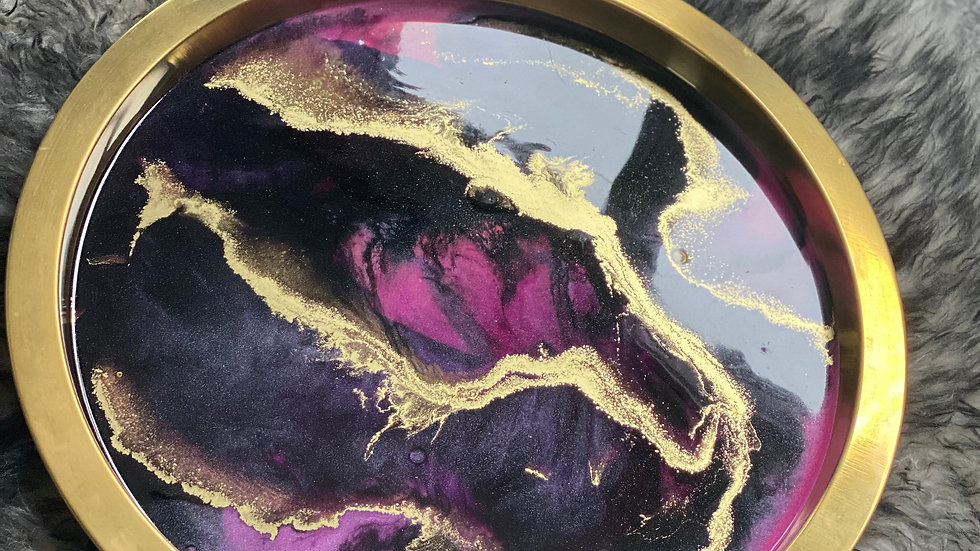 Dark Marble and Metallic Gold Tray