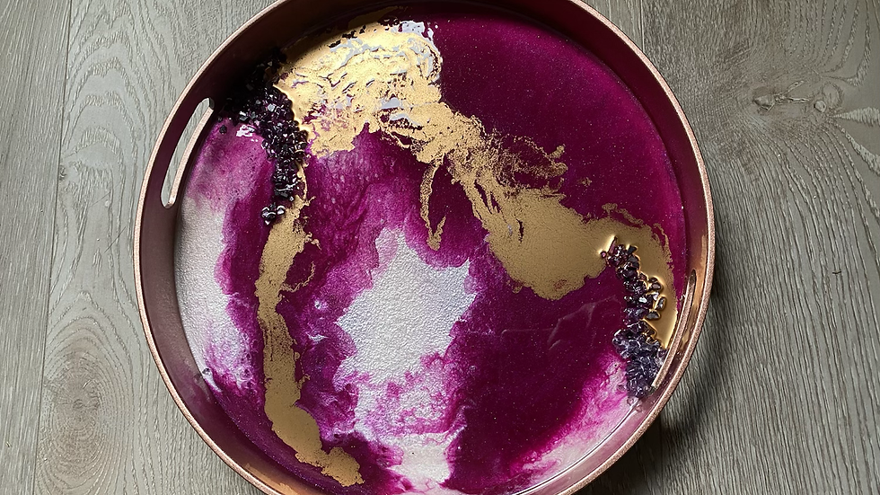 Magenta and Gold Geode Tray