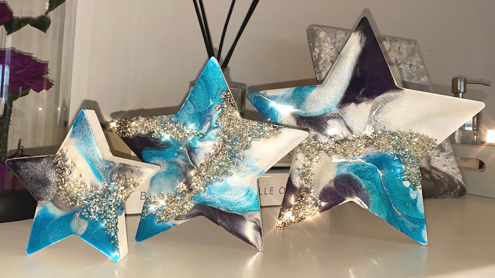 Free Standing Stars - Peacock and Silver Marble