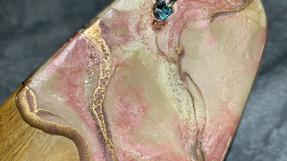 Luxury Gold & Blush Marble Serving Board with Abalone