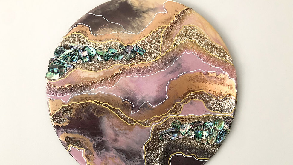 Wall Geode - Pink / Rose Gold w/ Abalone Shelll