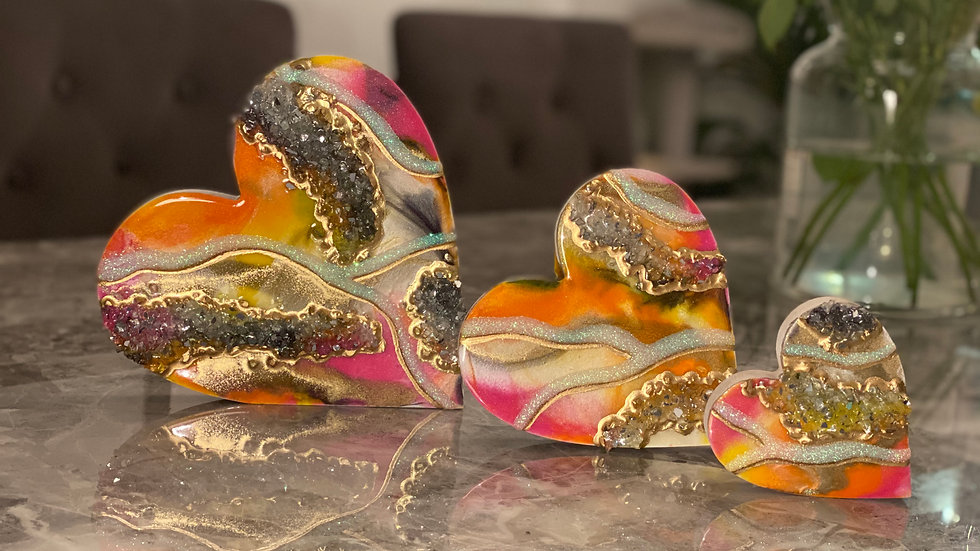Free Standing Hearts -Exotic Marble & Gold
