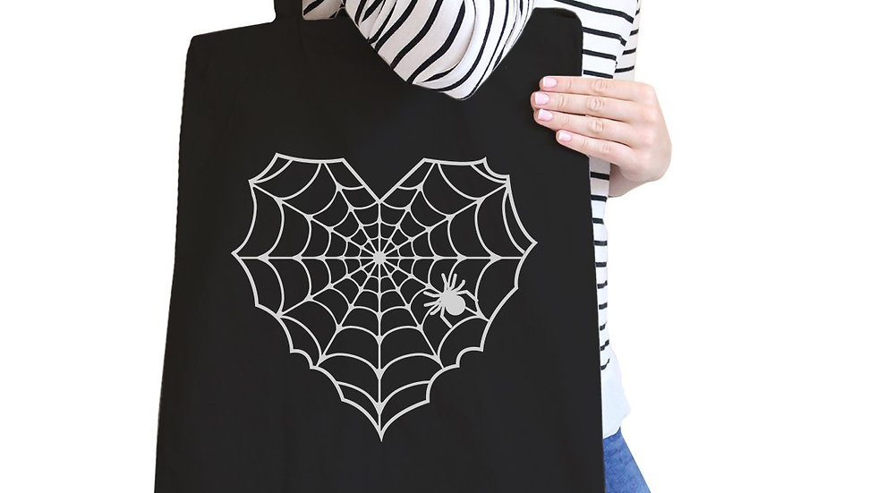 Heart Spider Web Black Canvas Bags