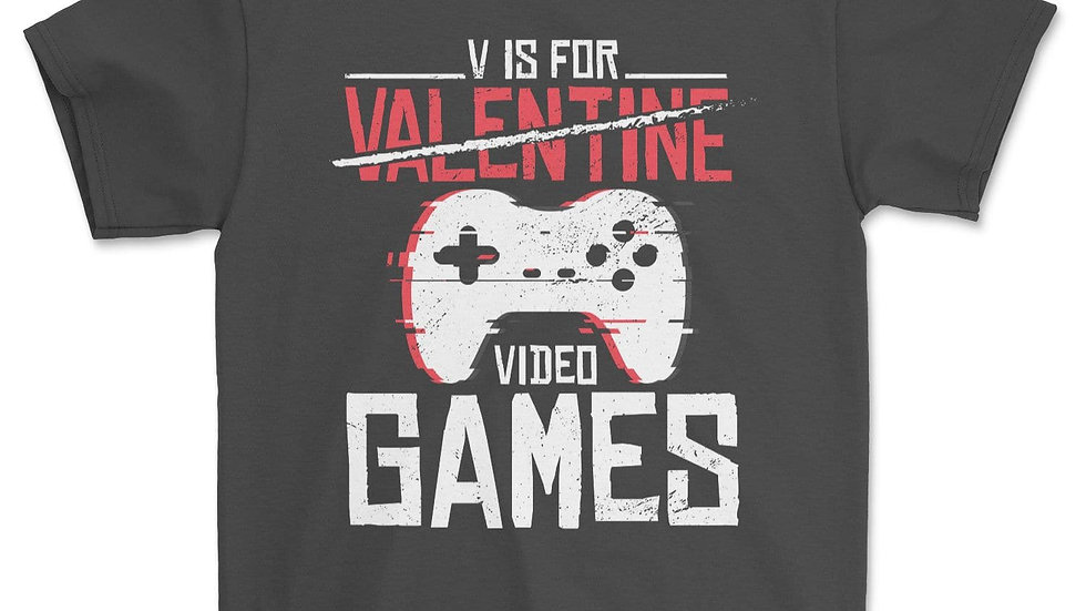 V Is for Video Games Funny Valentines Day Gamer Boy Men Gift T-Shirt