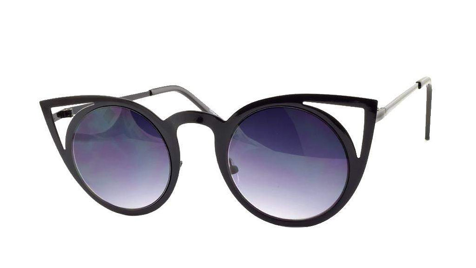 Black Cateye Metal Sunglasses