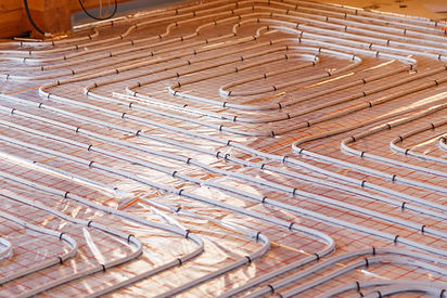 Underfloor surface heating pipes. EcoBuilders.Green