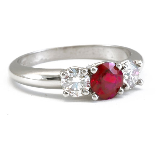 Burmese Ruby With Diamonds set in Platinum