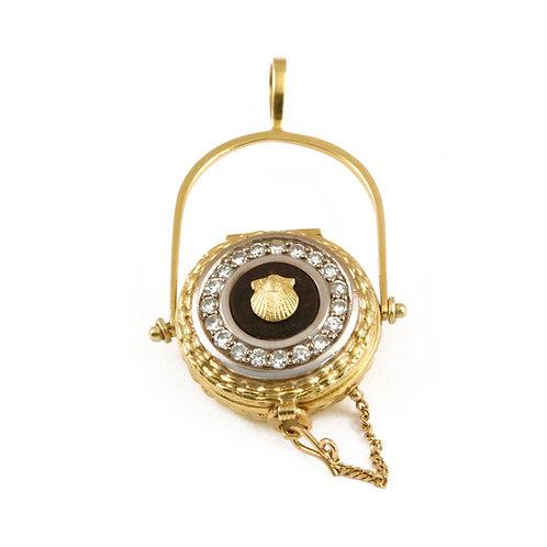 18k Diamond Belle locket. Nantucket Lightship basket pendant.