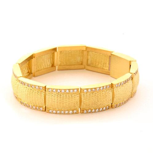 18K Segmented Basket Weave Bracelet.