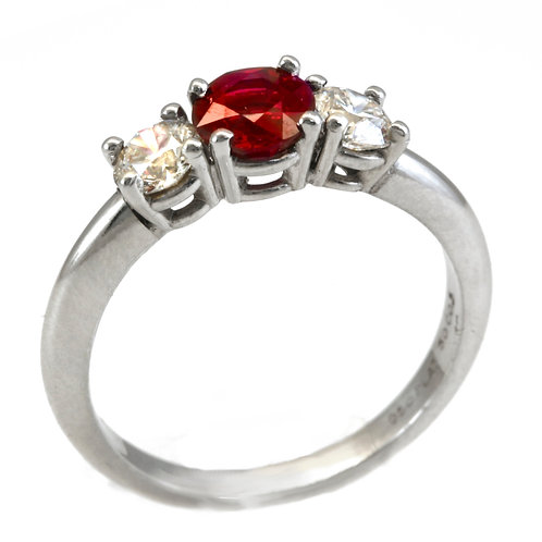 Burmese Ruby and Platinum Ring