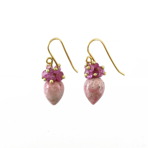 Pink Sapphire and Pink Calcite earrings in 18k gold