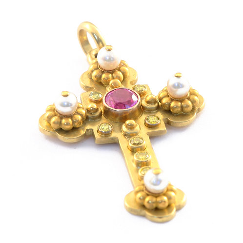 18k and 22k Cross Pendant with 1.11 ct Pink Sapphire and Yellow Diamonds