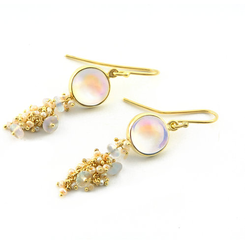 Moonstone Cabochon and Beads and Freshwater Seed Pearl Earrings in 18k Gold.