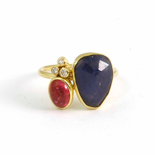 Assembly ring in 18k with Sapphire, Pink Tourmaline and Diamonds