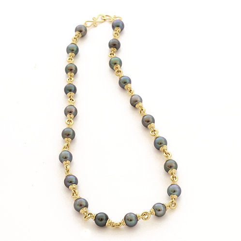 18K Gold and Treated Freshwater Pearls.