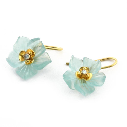 Small Carved Aquamarine Flower Drop Earrings with Diamonds in 18k Gold.