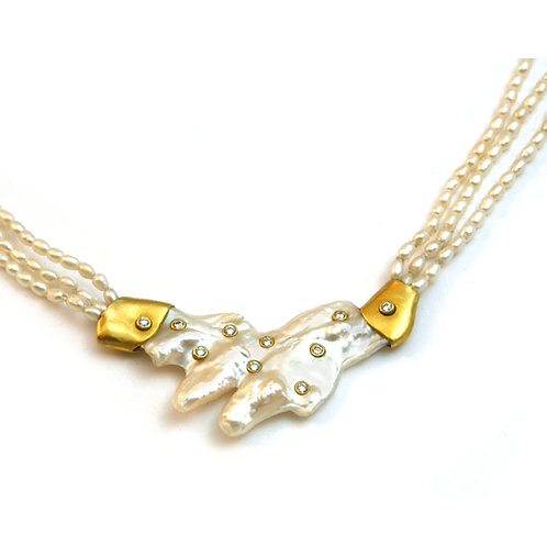 Unusual Pearl and Diamond Necklace