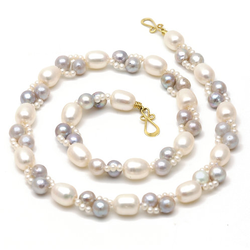 Blue Akoya Pearls woven with Seed Pearls and White Freshwater Pearls