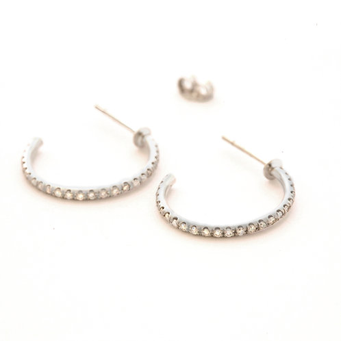 Diamond Micro Pave Hoops in Platinum.
