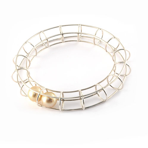 Sterling Silver Bangle Bracelet with Golden South Sea Pearls.
