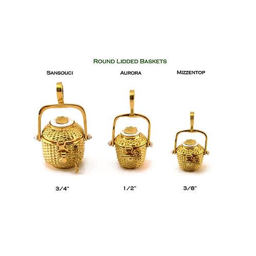 Round Lidded Nantucket Lightship Baskets in 14k and 18k Gold