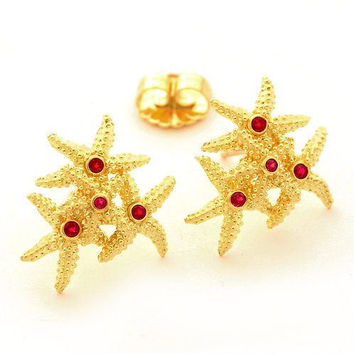 18K Gold Seastar Earrings with Rubies.