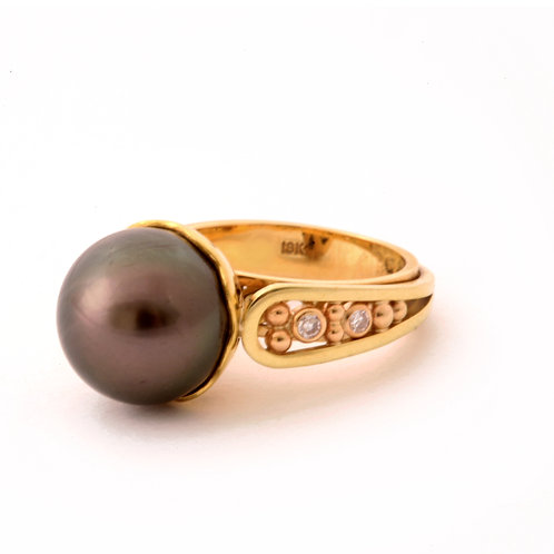 Tahitian Pearl with 18k, Diamonds and Rose Gold