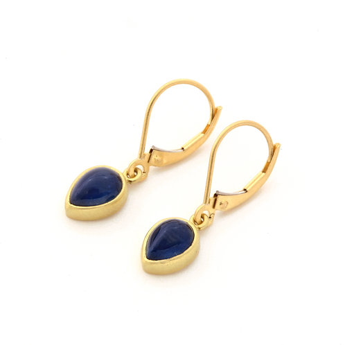 Pear Shaped Sapphire Drop Earrings in 18K Gold.