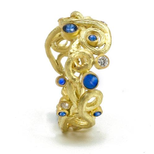 Bartlett Farm Twig Ring 18K, Sapphires, Diamonds